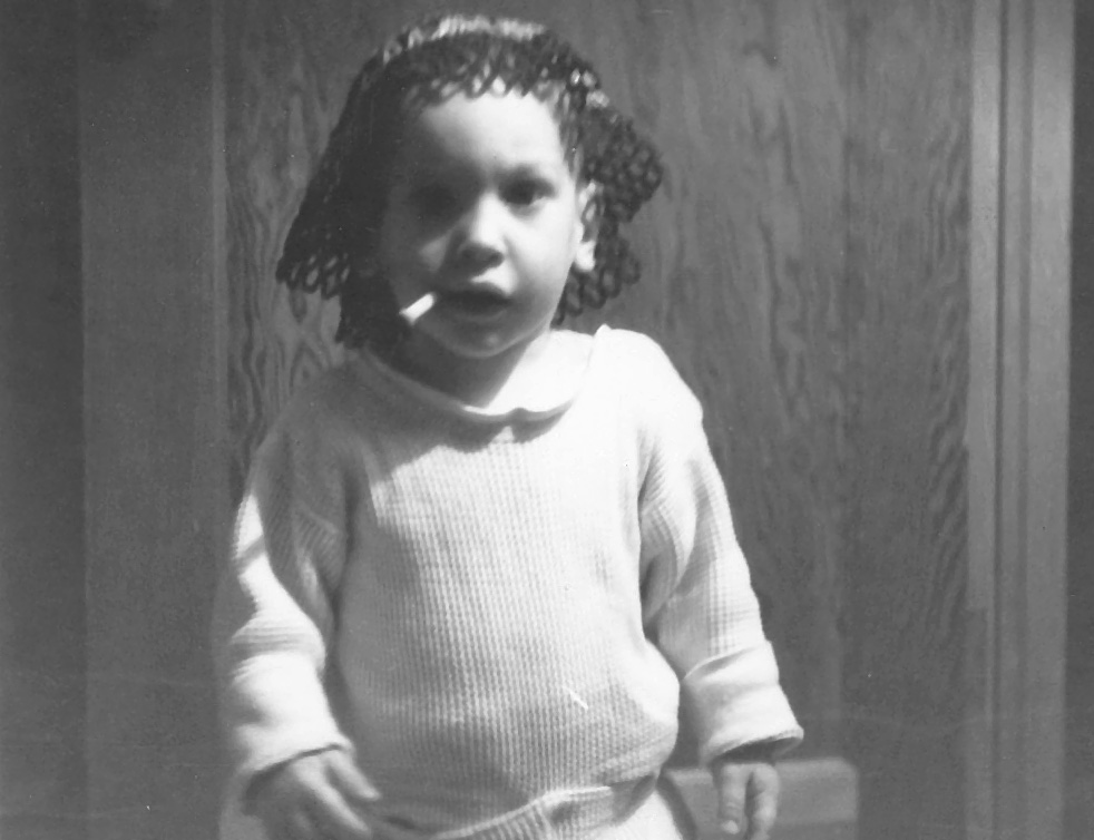 ClovisNM Paul as a baby with doily and cigarette in mouth
